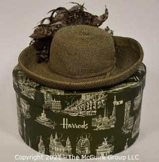 Straw Hat with Pheasant Feather Decoration in Harrods Hat Box.