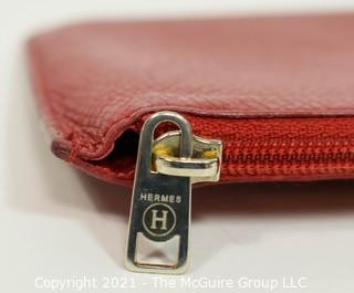 Classic Hermes Red Leather Flat Coin Purse or Wallet