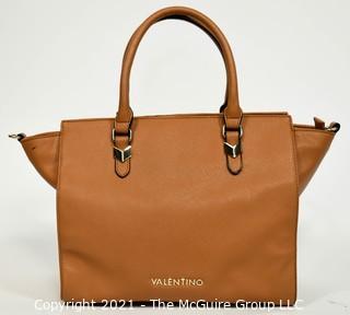 Classic Valentino Tan Beige Top Handle Tote Handbag  with Zip Closure.