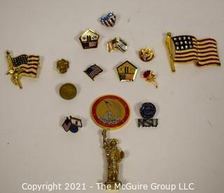 Collection of American Themed Pins and Pin Backs.   Includes Pan Am and 9/11 Pentagon.