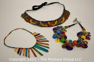 Group of (3) Bright Bead or Woven Necklaces.