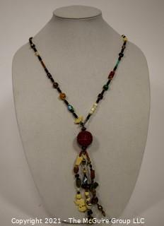 Mixed Bead and Charms Necklace with Cinnabar Tassel