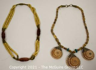 Two (2) Tribal Stone and Shell Bead Necklaces