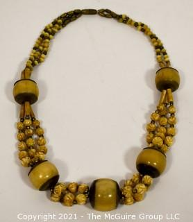 Vintage Chunky Tribal Stone or Bone Bead Necklace