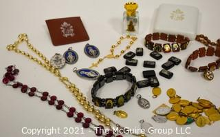 Collection of Catholic Religious Jewelry, Medals and Rosaries.