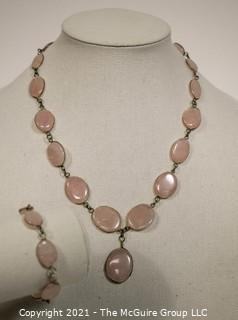 Two Piece Matching Set of Pink Quartz Gem Stones Set Metal Bezel Link Necklace & Bracelet.