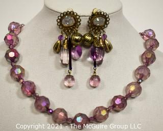 Purple Iridescent Bead Necklace and Earrings Set.