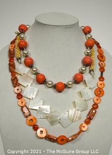Three (3) Beaded Necklaces in Orange & White Mother of Pearl.