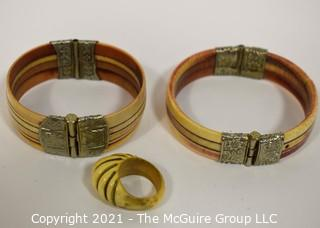 Three (3) Pieces of Bone Jewelry.  Two Bone with Silver Plate Hinge Bangle Bracelets and One Ring.