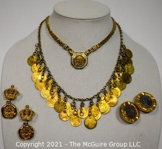 Four (4) Pieces of Gold Toned Coin Themed Costume Jewelry.  Two necklaces and two pairs of Clip on Earrings.