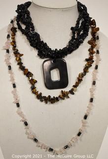 Three Gemstone Chip Necklaces Including Black Onyx, Pink Quartz & Tigerseye.