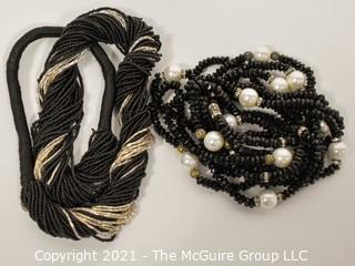 Two (2) Black Sparkly Bead Necklaces.