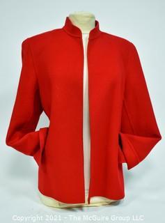 Linda Allard Ellen Tracy Open From Red Wool Jacket With Split Cuffs Size 16.