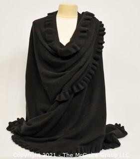 Tom Scott Knitwear Made in Scotland Black Cashmere Wool Large Shawl Stole Wrap with Ruffle Edge.