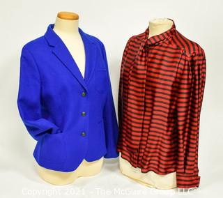 Red & Black Stripe Blouse by Jasper Conran (Size 12) & Jacket by Brookes Brother (Size 14).