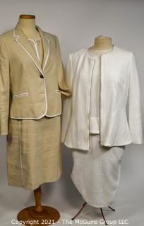 Two (2) Linen Dresses with Matching Jackets, Size 12.