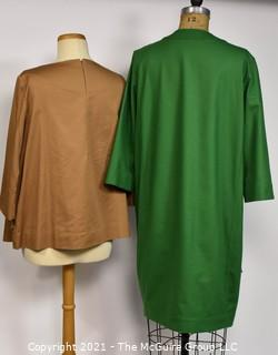 Two (2) Pieces of Clothing by COS.  One Beige Minimalist Top or Shirt & One Modernist Green Button Front Dress or Jacket with Pockets, Size 10.