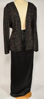 Vintage Black Tie Oleg Cassini 100% Silk Sequin Embellished Jacket with Matching Skirt, Size XL & 14.