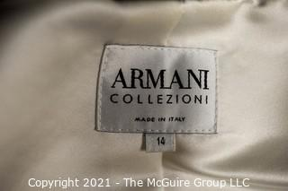 Vintage Armani White with Black Velvet Trim Evening Shirt or Top (Size 14) with Coordinating Skirt.  Skirt Not by Armani.