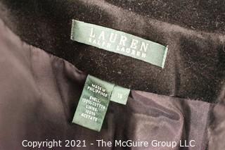Two (2) Ralph Lauren Black Velvet Blazers, Size 16.
