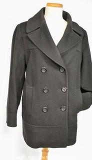 Fluerette Loro Piana Black Double Breasted Wool Peacoat Jacket.