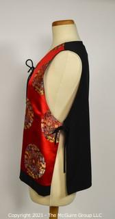 Asian Style Red Satin Embroidered Vest with Tie Sides by Hino & Malee.