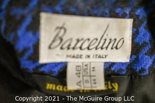 Blue & Black Hounds Tooth Suit by Barcelino Size 14.