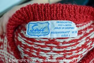 Vintage Siril Sweater Shop Red & White Wool Hand Knit Cardigan Made in Oslo Norway.