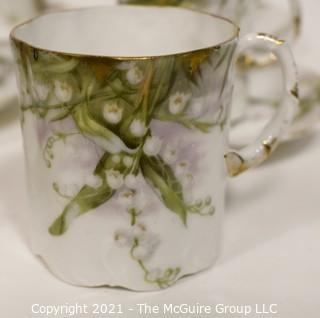 Set of 10 Rosenthal Monbijou Bavaria White Flowers with Gold Edge China Tea Cups & Saucers