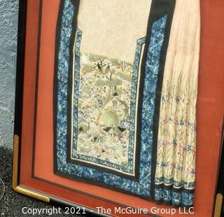 "Antique Framed Under Glass Asian Silk Embroidered Decorative Fabric or Obi Decorated on Both Sides. Stiched to backing, not glued.  Frame measures approximately 27"" x 37"""