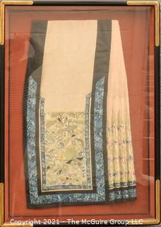"""Antique Framed Under Glass Asian Silk Embroidered Decorative Fabric or Obi Decorated on Both Sides. Stiched to backing, not glued.  Frame measures approximately 27"""" x 37"""""""