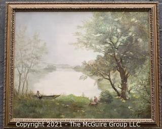Framed Oil On Canvas of Boat on Lake Signed by Artist Mensch.  It measures approximately 38 x 46""