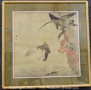 "Framed print of ""Geese in Flight"", artist Okyo; under glass, 36 x 36"""