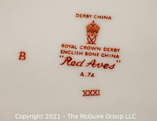 "Set of Dinner Plates, English Bone China Made by Royal Crown Derby in ""Red Aves"" Pattern."