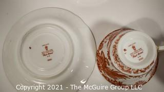 """Set of Footed Tea Cups & Saucers by Royal Crown Derby in """"Red Aves"""" Pattern English Bone China Plates."""