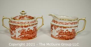 "Set Creamer and Sugar Bowl with Lid by Royal Crown Derby in ""Red Aves"" Pattern English Bone China Plates."