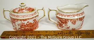 """Set Creamer and Sugar Bowl with Lid by Royal Crown Derby in """"Red Aves"""" Pattern English Bone China Plates."""