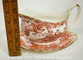 """Gravy or Sauce Boat with Underplate by Royal Crown Derby in """"Red Aves"""" Pattern English Bone China Plate."""