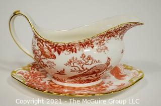 "Gravy or Sauce Boat with Underplate by Royal Crown Derby in ""Red Aves"" Pattern English Bone China Plate."
