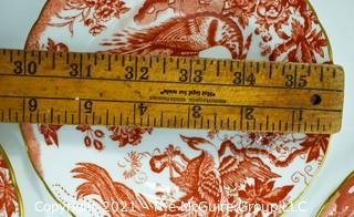 """Set of Salad & Fruit English Bone China Plates Made by Royal Crown Derby in """"Red Aves"""" Pattern."""