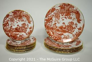 "Set of Salad & Fruit English Bone China Plates Made by Royal Crown Derby in ""Red Aves"" Pattern."