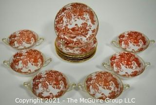 "Set of Footed Cream Soup Bowl & Saucer Sets by Royal Crown Derby in ""Red Aves"" Pattern 	 English Bone China Plates."