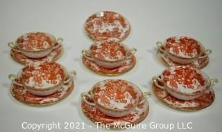 """Set of Footed Cream Soup Bowl & Saucer Sets by Royal Crown Derby in """"Red Aves"""" Pattern  English Bone China Plates."""