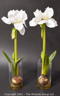 "Two (2) Faux White Flowers in Glass Vases; 26""T"
