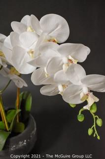Faux Triple Phalaenopsis Orchid in Glass Vase