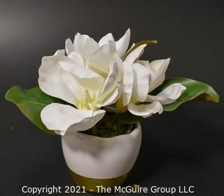 """Faux Magnolia Bloom in Ceramic Planter; 8""""T"""