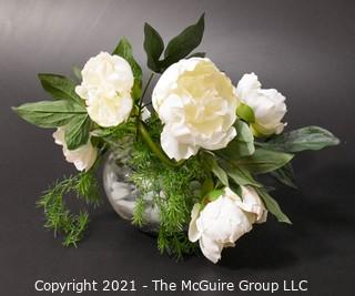 Faux White Peonies Flowers in Ceramic Planter Decor.