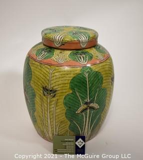 """Porcelain Asian Stamped Hand Painted Bok Choy & Moth Ginger Jar. {TMG Business Card Placed for Perspective}; 10""""W x 12 1/2""""T"""