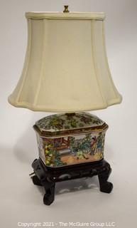 "Hand Painted Porcelain Chinese Candy Box Table Lamp with Shade,  Measures approximately 8""W x 19 1/2""T"