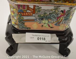 """Hand Painted Porcelain Chinese Candy Box Table Lamp with Shade,  Measures approximately 8""""W x 19 1/2""""T"""